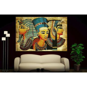 (NOT Framed or Stretched) Canvas Prints Old Egyptian Papyrus Decor Fine Home Decor Wall Art Posters Gold Pop Art
