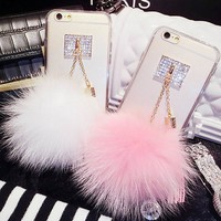 Luxury Fur Ball Crystal Soft TPU Back Cover Phone Case