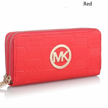 MK double pull ladies long wallet multi-card double-layer clutch bag letter purse F0594-1 red