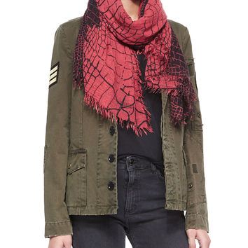Delta Croc-Print Scarf, Size: ONE SIZE, ROUGE - Zadig & Voltaire