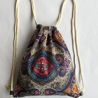 National Boho Beach Women Canvas Drawstring Backpack Vintage Students School Bag