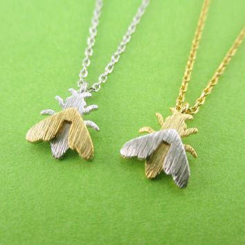 3D Housefly Insect Bug Fly Shaped Pendant Necklace in Gold or Silver