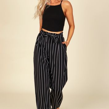Striped Tie Pants Black