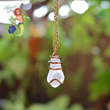 Sea Glass Jewelry - wire wrapped Hawaiian seaglass necklace by Mermaid Tears for beach brides