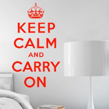 Keep Calm and Carry On Wall Sticker | Origional Keep Calm and Carry On Poster Wall Decal 13w x  23h