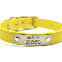 Leather Dog Collar With Personalized Nameplate - Yellow