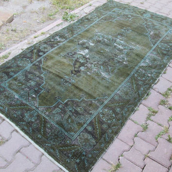 Vintage Moss Green and Turquouise Overdyed Rug - Oushak Overdyed Rug - Unique Color Authentic Rug
