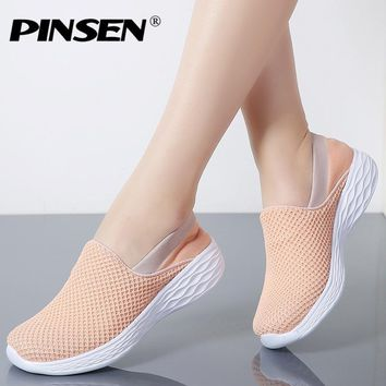 PINSEN 2018 Spring Women Sneakers Breathable Mesh Shoes Woman Ballet Slip On Flats Loafers Ladies Shoes Creepers Zapatos mujer