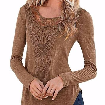 Women's Slim Crochet Long Sleeve