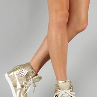 Venus-01 Glitter Lace Up High Top Wedge Sneaker