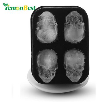 LemonBest 3D Skull Silicone Ice Mold Cool Whiskey Wine Cocktail Cube Tray Maker Home Kitchen Ice Cram Mould DIY Tools Halloween
