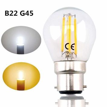 B22 G45 LED Filament Bayonet Light Bulb 4W 220V LED G45 B22 Glass Edison Retro Bulb for Ceiling Fan Chandelier Crystal Lighting