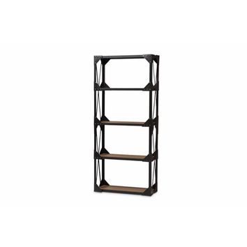 Antique Black Textured Finished Metal Distressed Wood Tall Shelving Unit By Baxton Studio