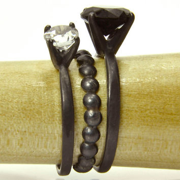 Gemstone Stacking Ring Set, Black Tie Affair, Sterling Silver Rings with Black Spinel, White Topaz and Bubble Ring