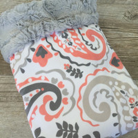 Baby Girl Blanket, Paisley Minky Baby Blanket, Coral and Gray Paisley Baby Girl Blanket, Coral, Grey, Gray, Peach, White Baby Girl Bedding