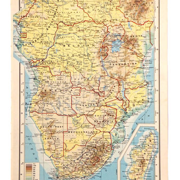 1951 Southern Africa Map, Large vintage Map of South Africa, historical map