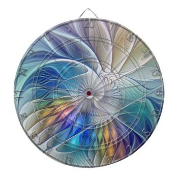 Floral Fantasy, Colorful Abstract Fractal Flower Dartboard With Darts
