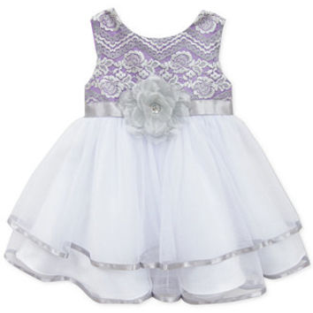 Rare Editions Baby Girls' Lace-to-Mesh Dress