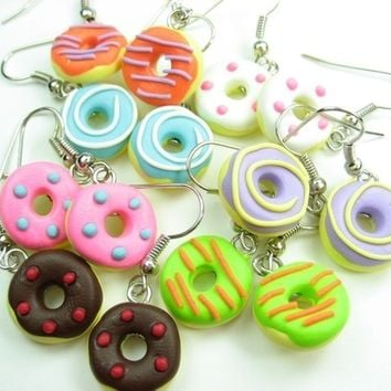 Mini Fun Donut Earrings (7 pairs)