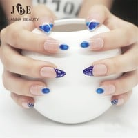 24Pcs/set Pre Design 3D False Nails Tips Full Stiletto Pointy Color Printing Fake Nail Art Tips With Free Glue Blue Peacock