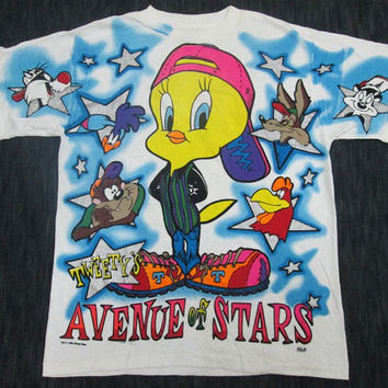 90's Vintage Avenue Of Star Tweety's Anime Manga Movie Cartoon Warner Bross T Shirt Rare