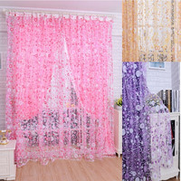 Print Floral Voile Door Curtain Window Room Curtain Divider Scarf = 1958024324