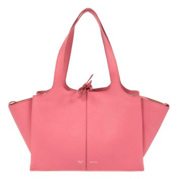 Celine Tri-Fold Shoulder Bag | Coral Pink Grained Calfskin Leather