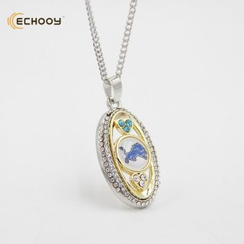 woman classic jewelry Personalized Detroit Lions Pendant Necklaces Custom football team logo necklace Bridesmaid Gift