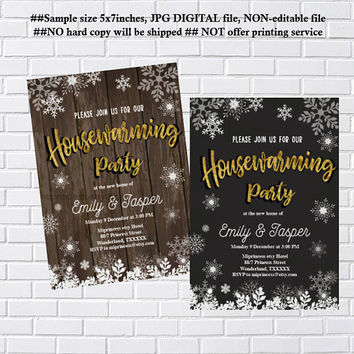 housewarming invitation, party invites, New house, winter, Winter Snowflakes, We have moved Invitation Card Design, Wood- card 1206