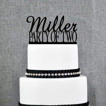 Personalized Party of Two Wedding Cake Topper in your Choice of Color, Personalized Name Cake Topper, Elegant Custom Cake Topper (Style 001)