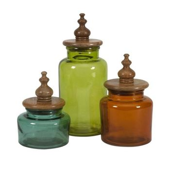 Saburo Glass and Wood Lid Canisters - Set of 3 - Free Shipping!