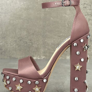 Steve Madden Glory Dusty Rose Satin Studded Platform Heels