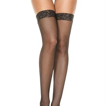 Lace Top Fishnet Thigh Hi - One Size - Black