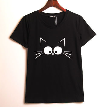 2016 Kawaii Cartoon T-shirt Women Cute Black Cat Printed Printing T Shirt Women Tops Tee Shirt Femme Sweet Woman Clothing