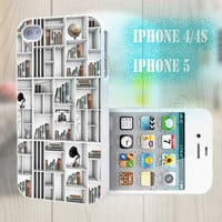 unique iphone case, i phone 4 4s 5 case,cool cute iphone4 iphone4s 5 case,stylish plastic rubber cases cover, white  bookrack book   bp2460