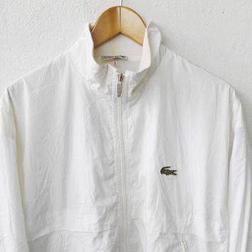 ON SALE 25% 90's Vintage LACOSTE Hip Hop Zipper Nylon White Jacket Casual 80s Tommy Stadium