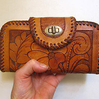 Vintage 1970's boho tooled tan leather ladies wallet or purse (eBay item 110861994408 end time 15-May-12 15:41:04 AEST) : Clothing, Shoes, Accessories