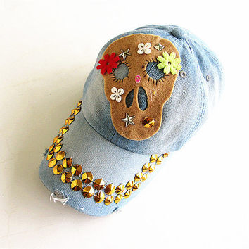 Skull Baseball Cap-Unisex Cap-Baseball Cap-Fashion Cap-Steam Punk Cap-Gothic-Denim Cap.