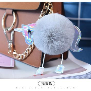 2017 New Unicorn Keychains Fur Pom Pom Fluffy Keychain Rex Rabbit fur ball key chain Horse porte clef pompom de fourrure pompon