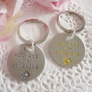 You Are My Sunshine Hand Stamped Keychain Design 4 Bursting Sun Yellow Or Black Letters