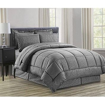 Ben&Jonah Queen Size 8 Piece Vine Down Alternative Bed N Bag  (86 inch  x 86 inch ) - Grey