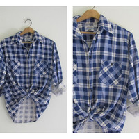 Vintage blue and white plaid boyfriend flannel / Grunge Shirt / size M