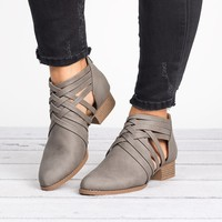 Criss Cross Booties - Grey