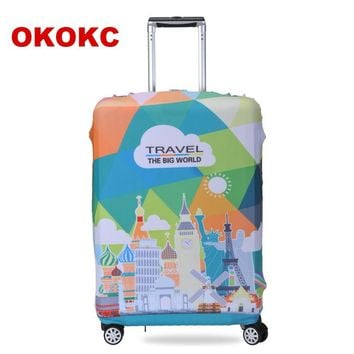 OKOKC Cartoon Elastic Luggage Protective Cover Travel Tolley Suitcase Dust Cover Bags Case Accessories Supplies