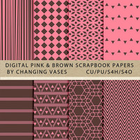 Digital Scrapbook Paper Pack Pink and Brown, Geometric Stripes Aztec Chevron Pattern, Texture, Clipart Clip Art, Photo Background