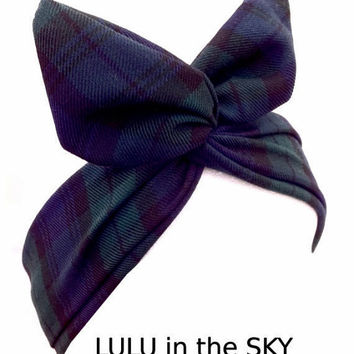 Blue & Green Checked Tartan wire ROCKABILLY Pin up Headscarf Plaid Headband