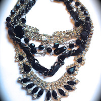 Black & White rhinestone necklace- Tom Binns inspired Layered Necklace- Statement Necklace Handmade-Chunky Necklace-BIB necklace-Handmade