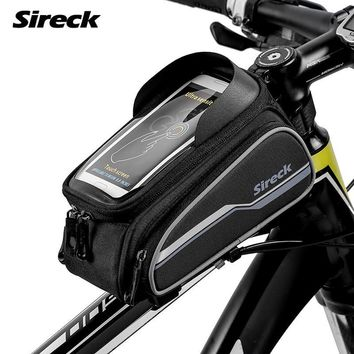 Sireck MTB Bike Bag High Quality Bicycle Frame Saddle Bag Mountain Road Bike Top Front Tube Bag Touchscreen 6'' Bike Accessories