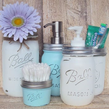 5 piece Mason Jar Soap and Lotion Dispensers with Storage Jars, Nursery Mason Jar Set, Bathroom Vanity Mason Jar Set, Shabby Chic Mason Jars