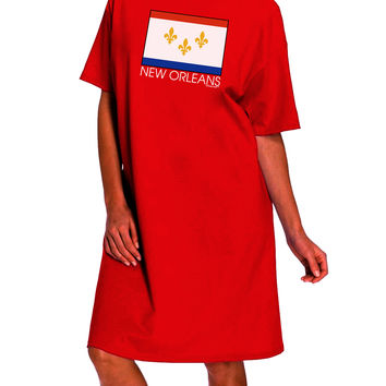 New Orleans Louisiana Flag Text Dark Adult Night Shirt Dress